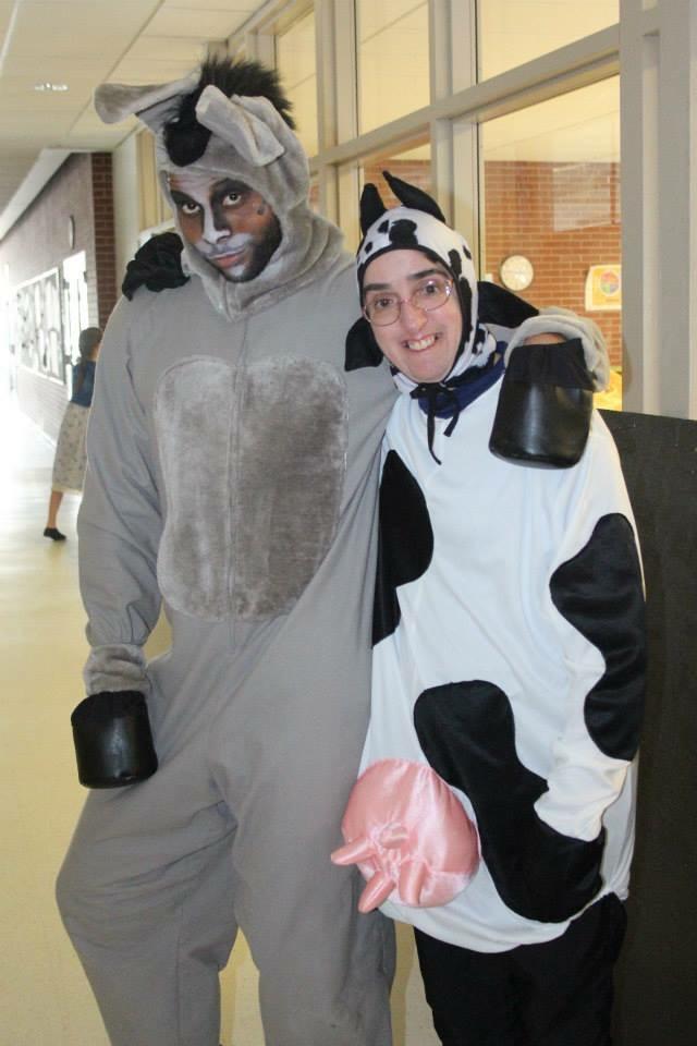 Donkey and Cow hug