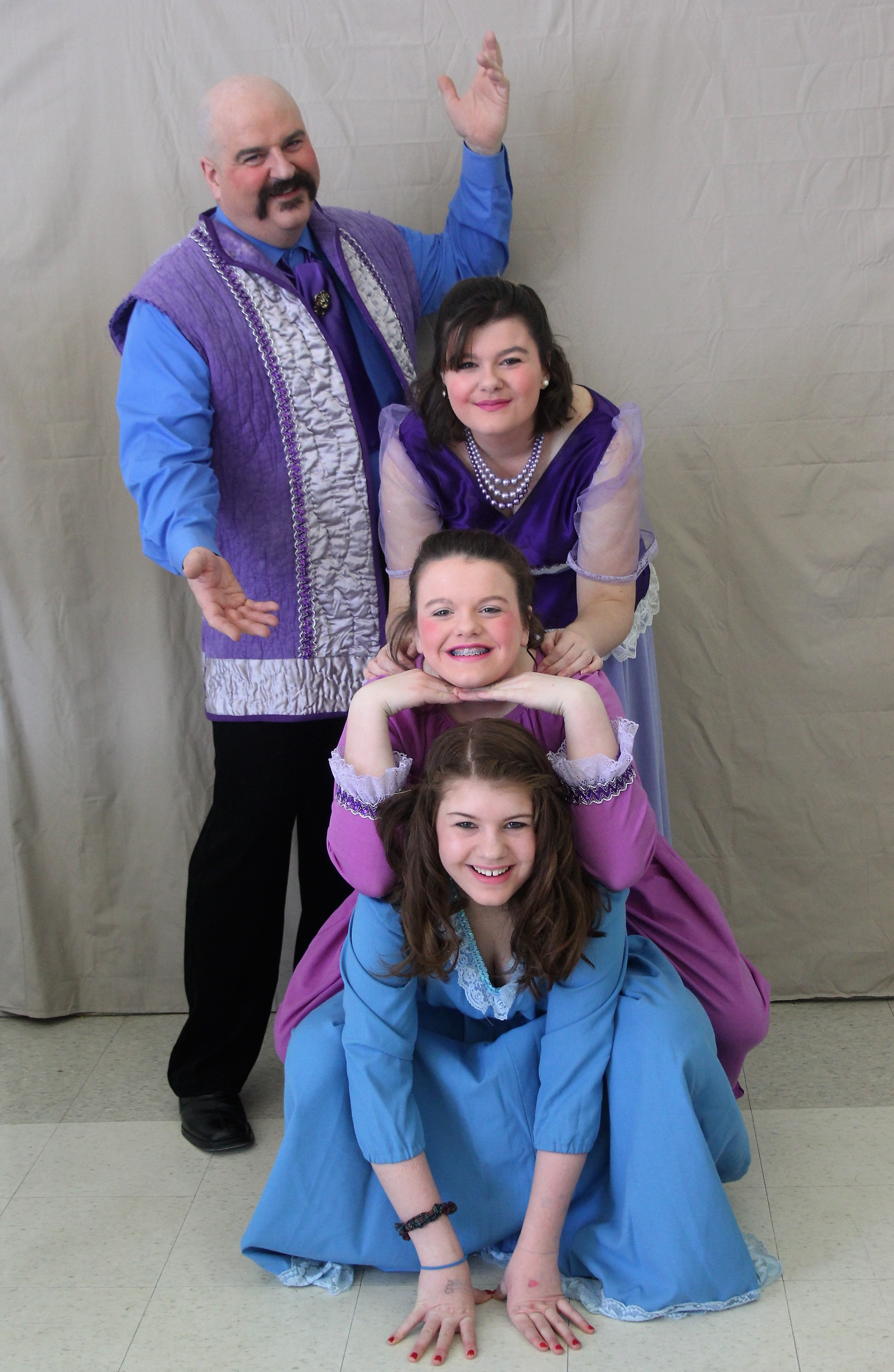 A tower of the Casey family in royal purple