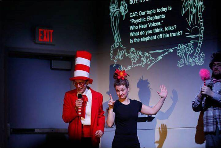 captioning projection with Cat and the Hat and ASL Interpreter